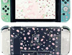 FANPL Glitter Clear Case for Nintendo Switch, Hard Shell Cute Protective Case Cover for Switch and Joy Con Controller with 2 Glitter Cherry Blossoms Thumb Grips – Embossed Feel (Pink Sakura Snow)