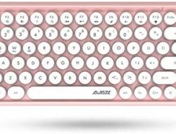 Lomi-Luskr 308i Wireless Bluetooth Keyboard, Compact 84 Keys, Tablet Keyboard, Portable Mini Keyboard, Compatible with iOS/Android/Windows (Pink)