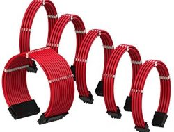 LINKUP – PSU Cable Extension Sleeved Custom Mod GPU PC Braided w/Comb Kit – Compatible with RTX3090┃1 x 24 P (20+4)┃2 x 8 P (4+4) CPU┃3 x 8 P (6+2) GPU Set┃30CM 300MM – Red