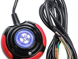 Vetroo 1.6m Desktop PC Computer Case Power Supply Reset HDD Push Button Switch with Cable Blue LED Lights – Red