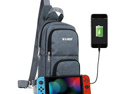 WANDF Switch Travel Bag, for Nintendo Switch Console, Dock, Joy-Con Grip & Switch Accessories, Protective Storage Sling Backpack Shoulder Bag for Nintendo Switch and iPad (Dark Grey)