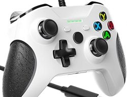 Wired Controller for Xbox One, Wired Xbox One Controller with Dual-Vibration, Headset Jack and Ergonomic Wired Gamepad, Controller Wired for Xbox One/Xbox One S/Xbox One X/PC Windows 7/8/10(White)