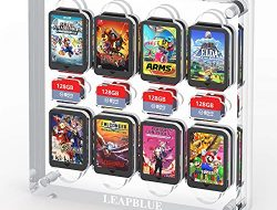 Leadblue Game Card Case for Nintendo Switch, Shockproof Cartridge Holder with 16 Games Card & 8 SD Cards, Acrylic Game Card Holder Game Storage Case Box