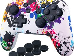 YoRHa Studded Silicone Transfer Print Cover Skin Case ONLY for Nitendo Official Switch Pro Controller x 1(Graffiti) with Pro Thumb Grips x 8